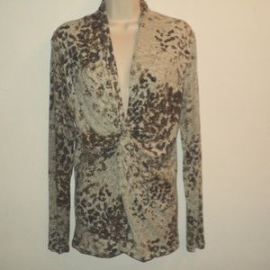 CAbi Size L Top Abstract Browns Twisted Bodice